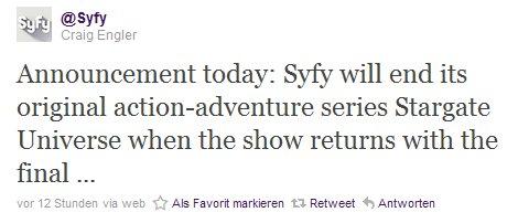 Twitternachricht zu Stargate: Universe