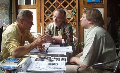 Besprechung beim ColoniaCon: Helmuth W. Mommers, Ronald M. Hahn und Michael K. Iwoleit