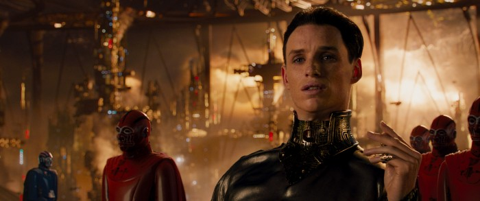 """Jupiter Ascending (3D)  Copyright: © 2015 WARNER BROS. ENT. INC., VILLAGE ROADSHOW FILMS NORTH AMERICA INC. AND RATPAC-DUNE ENT. LLC - U.S., CANADA, BAHAMAS & BERMUDA  © 2015 WARNER BROS. ENT. INC., VILLAGE ROADSHOW FILMS (BVI) LIMITED AND RATPAC-DUNE ENT. LLC - ALL OTHER TERRITORIES  Photo Credit: Murray Close  Caption: CHANNING TATUM as Caine Wise and MILA KUNIS as Jupiter Jones in Warner Bros. Pictures' and Village Roadshow Pictures' """"JUPITER ASCENDING,"""" an original science fiction epic adventure from Lana and Andy Wachowski. A Warner Bros. Pictures release."""